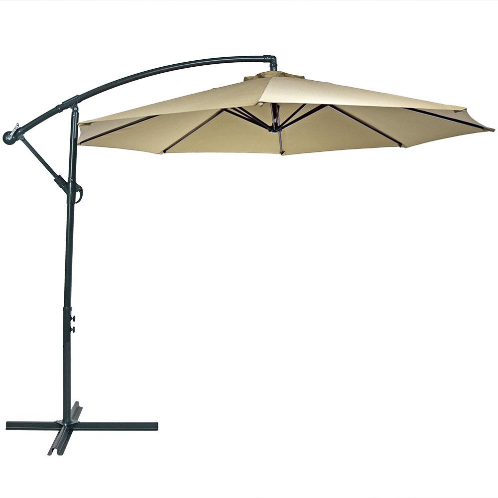 Sunnydaze Steel 10 Foot Offset Patio Umbrella With Cantilever Crank