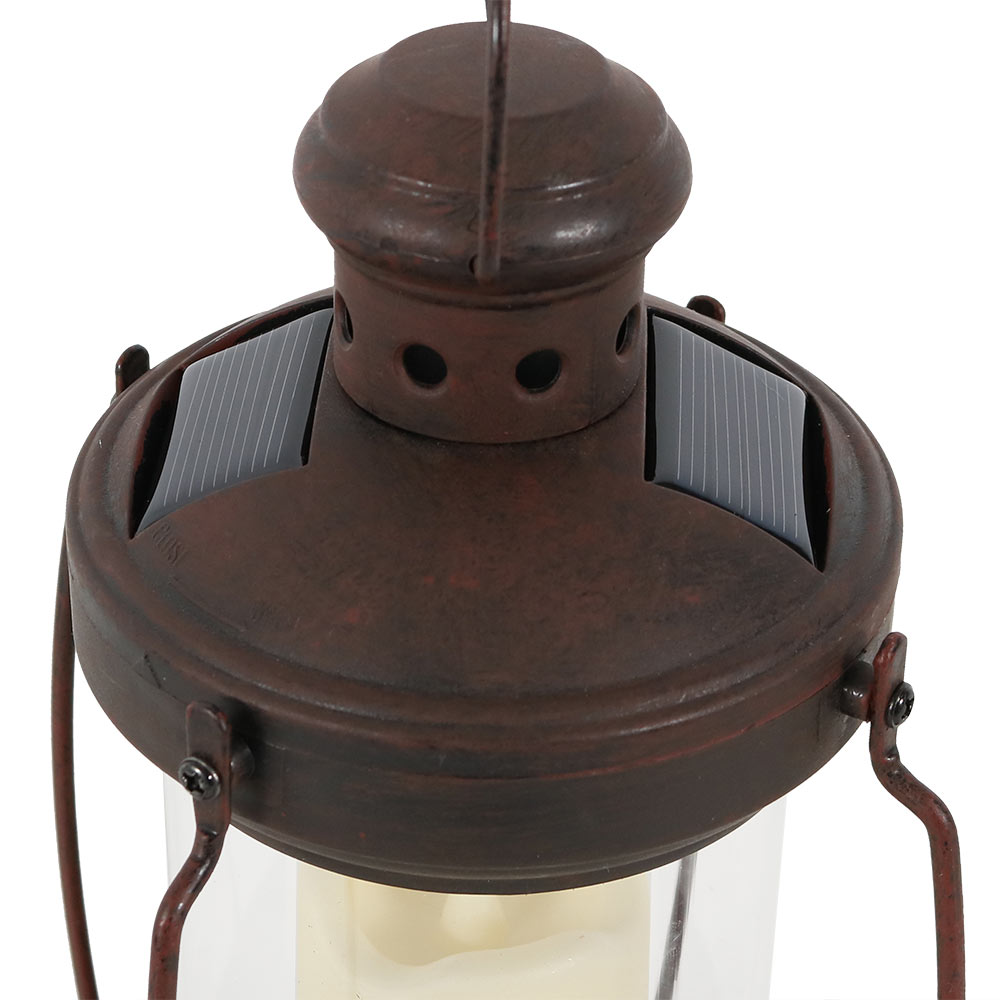 Sunnydaze 12 Inch Outdoor Antique Hanging Solar Lantern With Candle And Led Light