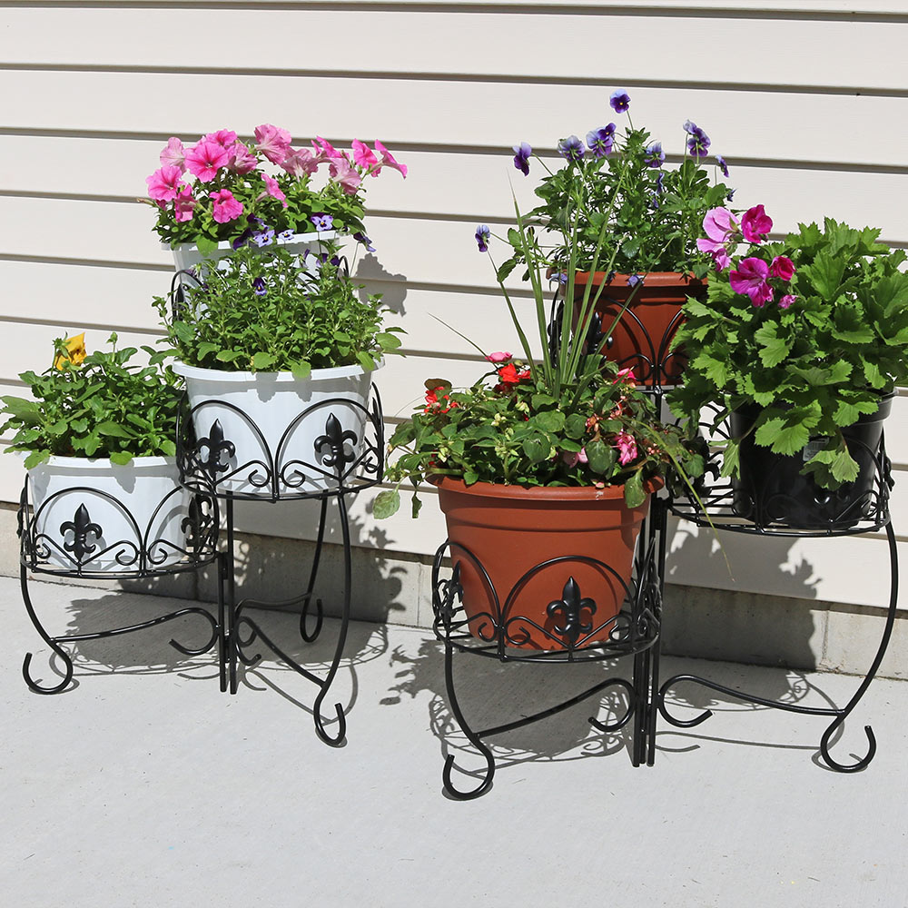 Sunnydaze French Lily Design Three Tiered Plant Stand 22 Inch Tall