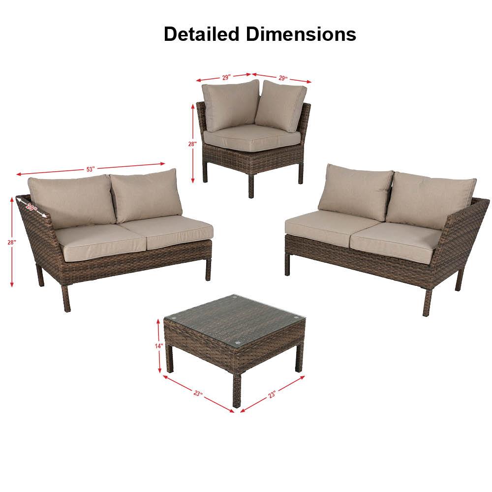 Sunnydaze Avel 4-Piece Sofa Sectional Patio Furniture Set with Grey ...
