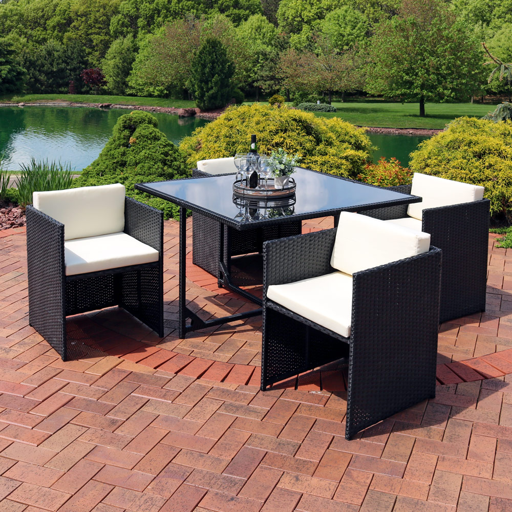 Fine Sunnydaze Miliani 5 Piece Outdoor Dining Patio Furniture Set With Black Wicker Rattan And Beige Cushions Gmtry Best Dining Table And Chair Ideas Images Gmtryco
