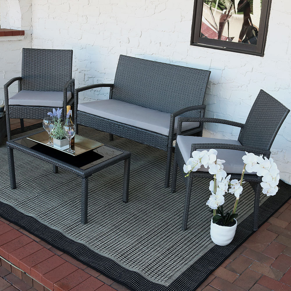 Sunnydaze Pompeii 4 Piece Wicker Rattan Lounger Patio Furniture Set With Grey Cushions