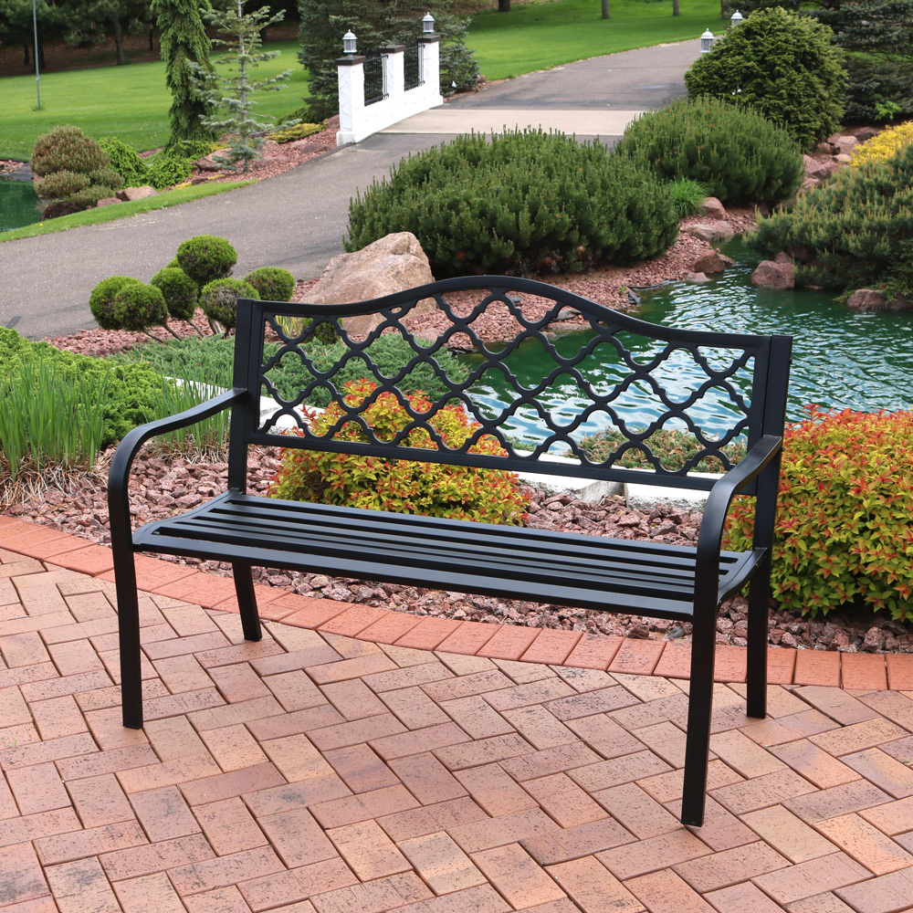 Sunnydaze 50 Inch Outdoor Black Cast Iron Lattice Patio Bench