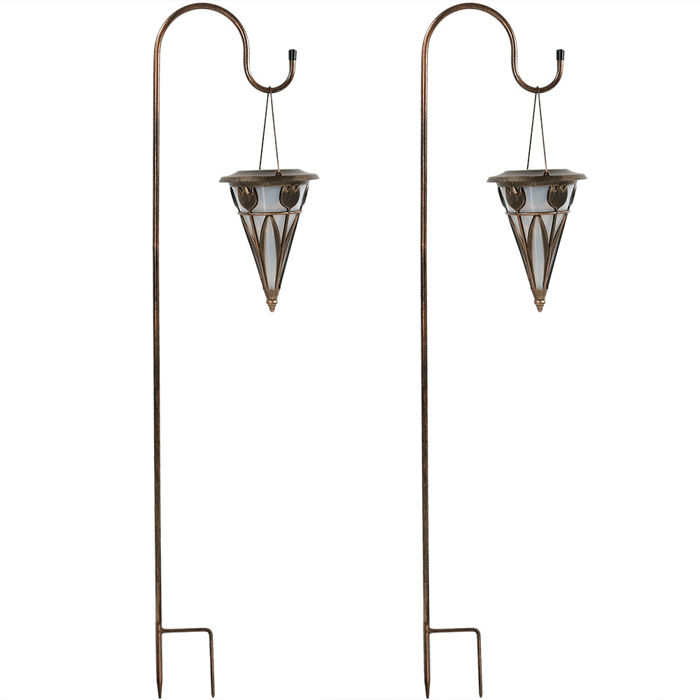 Sunnydaze Decorative Cone Outdoor Hanging Solar Light With Shepherd Hook Set Of Two