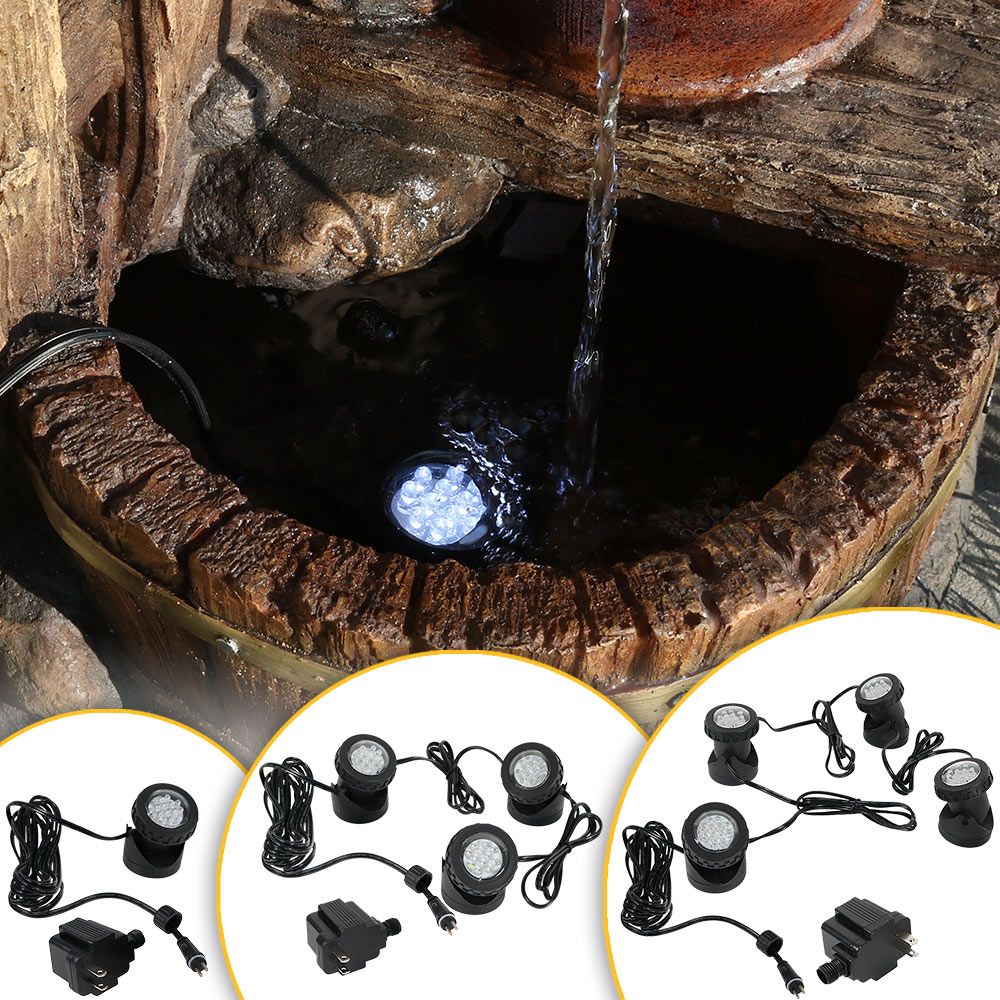 or Pond Sunnydaze 4-Pack Submersible Electric LED Light Kit with Transformer for Aquarium Garden