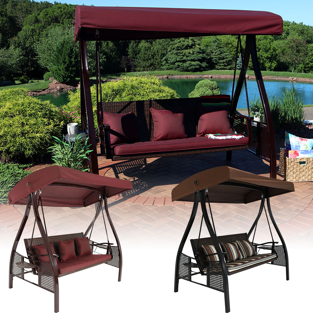 Sunnydaze Deluxe Steel Frame Maroon Cushioned Garden Swing With