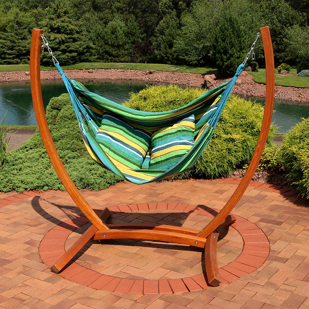 Fine Sunnydaze Hanging Hammock Chair Swing With Sturdy Space Saving Wooden Stand For Indoor Or Outdoor Use Ocean Breeze Short Links Chair Design For Home Short Linksinfo