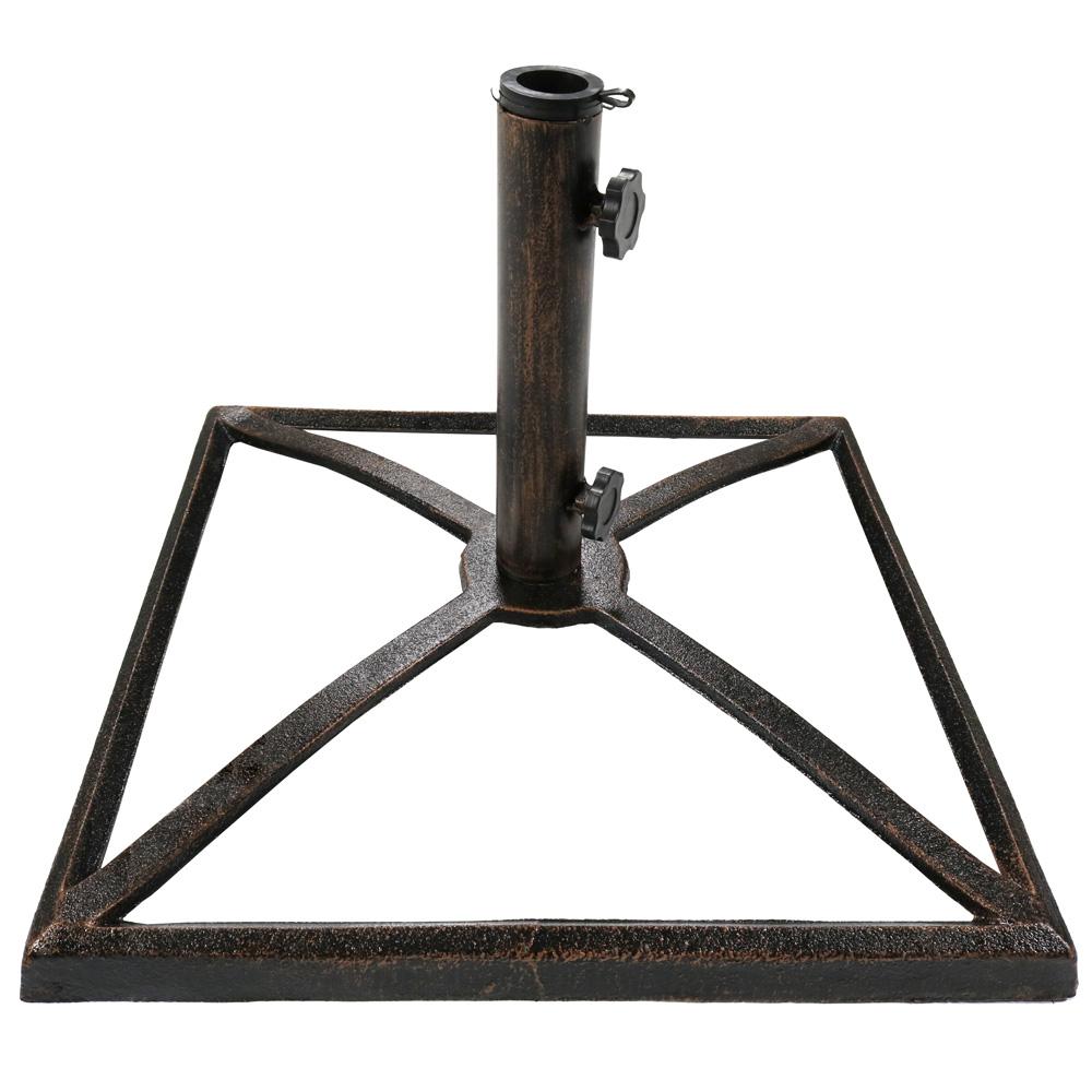 7ce2c8217a7e Sunnydaze Square Bronze Cast Iron Outdoor Patio Umbrella Base Stand, 17-Inch