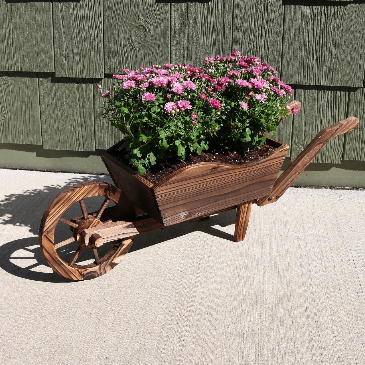 Sunnydaze Wooden Wheel Barrow Planter For Patio Lawn And Garden