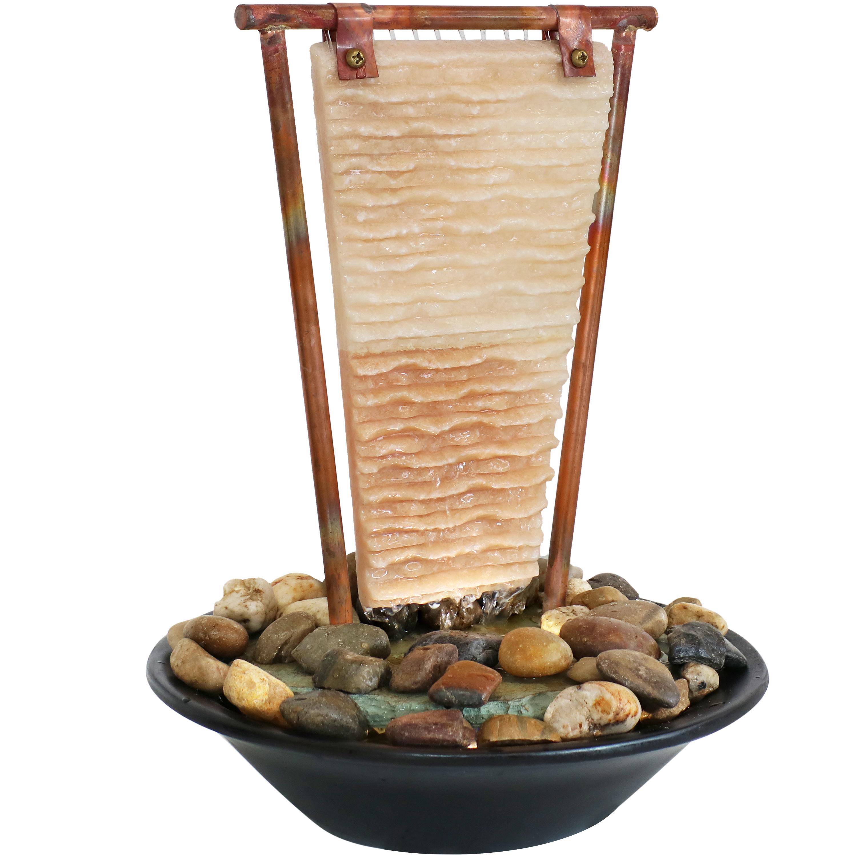 "Sunnydaze Half Moon Natural Slate Indoor Tabletop Water Fountain Feature 16/"""