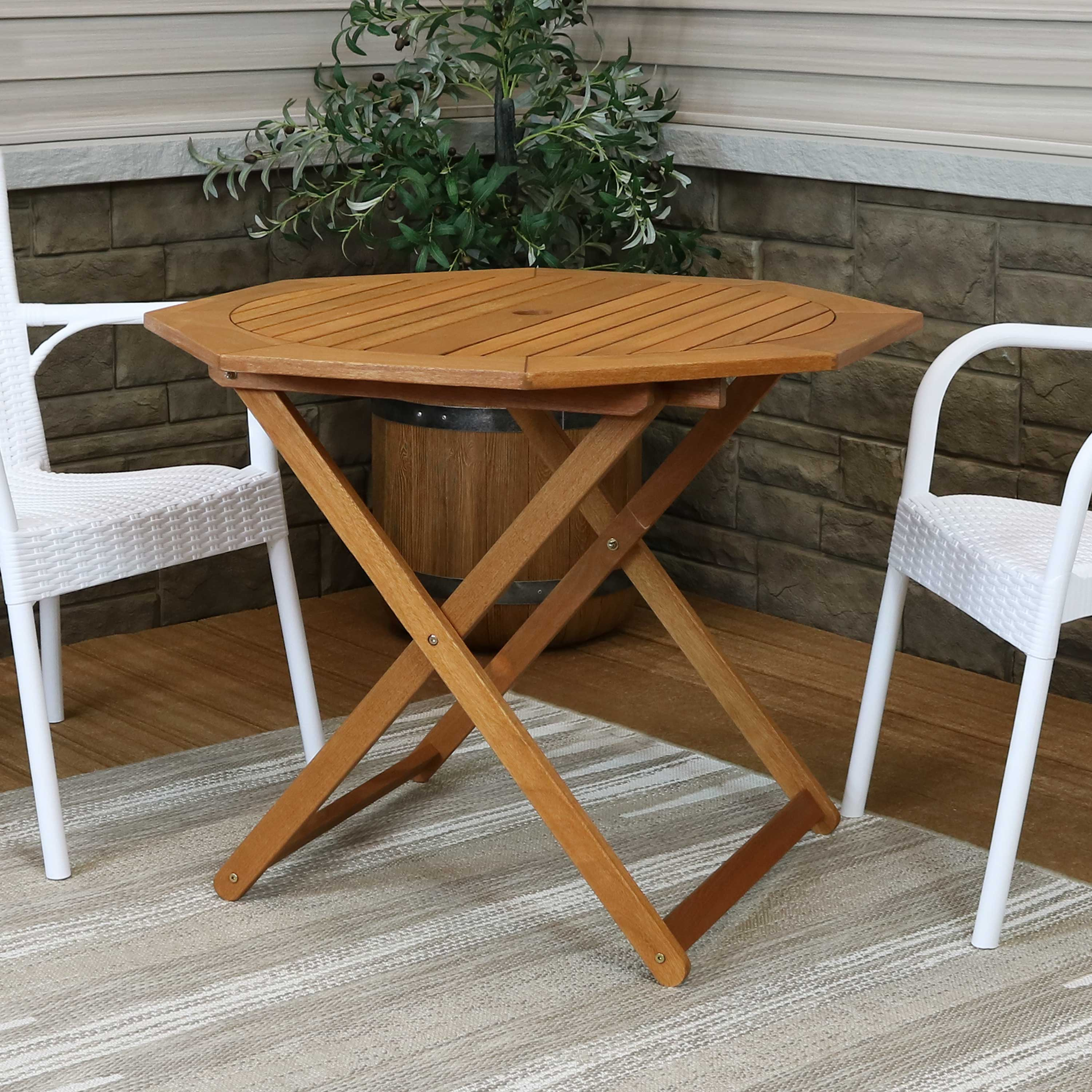 Ideal For The Patio Perfect For Camping And Dining Front Porch Or Garden Sunnydaze Meranti Wood Folding Round Bistro Table With Teak Oil Finish 27 5 Inch Compact Sturdy Outdoor Portable Table Patio Furniture