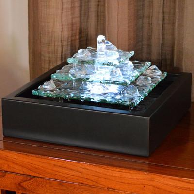 Bluworld Glacier Ice Lighted Glass Tabletop Fountain