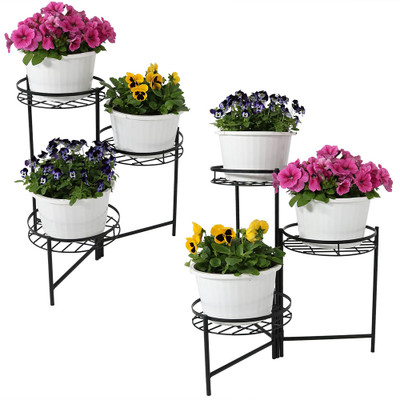 Sunnydaze Black Three Tiered Planter Stand 22 Inch Tall