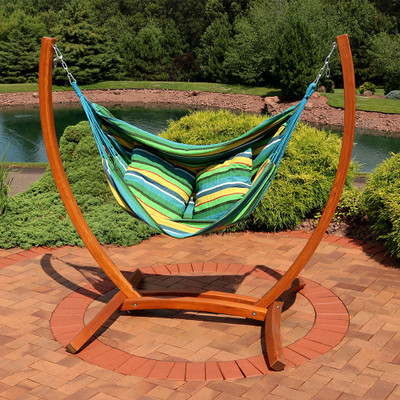 Amazing Sunnydaze Hanging Hammock Chair Swing With Sturdy Space Saving Wooden Stand For Indoor Or Outdoor Use Ocean Breeze Bralicious Painted Fabric Chair Ideas Braliciousco