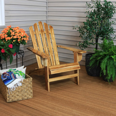 Sunnydaze Rustic Wooden Adirondack Chair with Light Charred Finish, 250  Pound Weight Capacity
