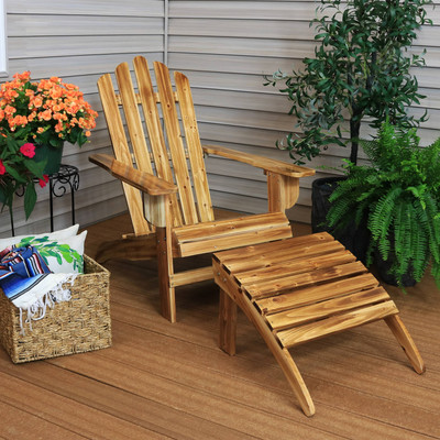 Sunnydaze Rustic Wooden Outdoor Adirondack Chair and Ottoman Patio  Furniture Set with Light Charred Finish