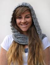 hooded scarf (sample shown in gray.  This item is maroon/dark red).