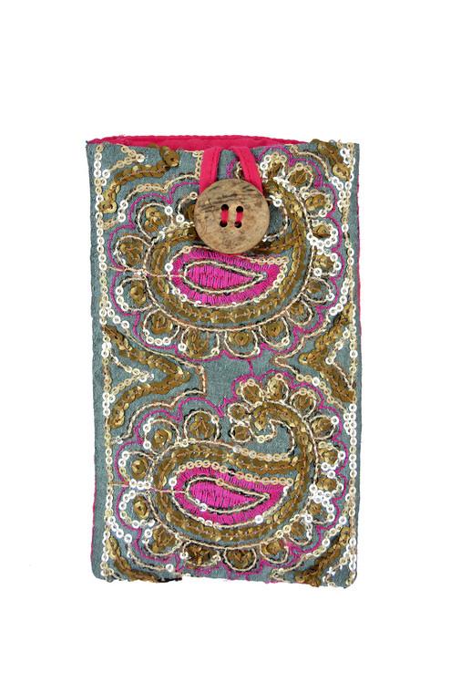 Passport/Phone Bag in Sequin Paisley