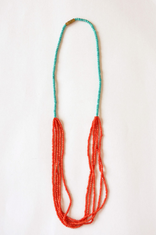 5 Strand Necklace -Coral and Turquoise