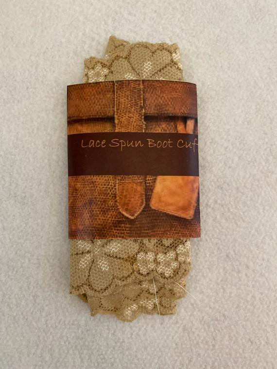 Lace boot cuffs in beige