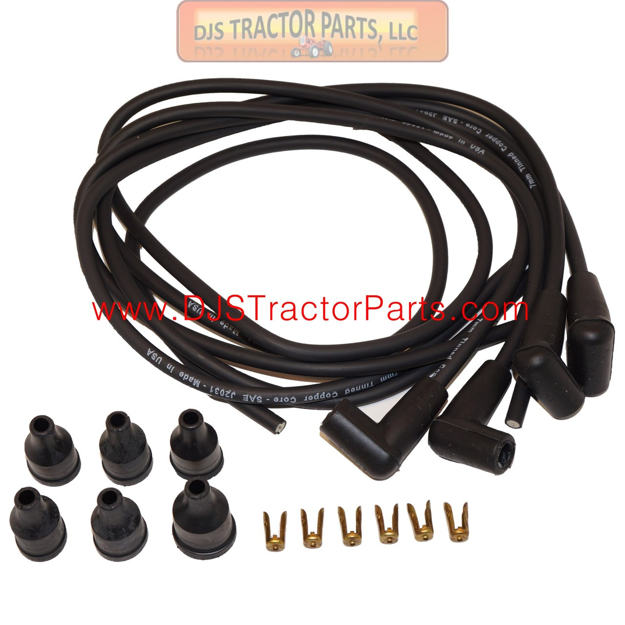 4 Cylinder Gas Tractor Spark plug wire set USA Made Copper Core wires