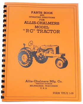 Allis Chalmers RC Parts Operators Manual