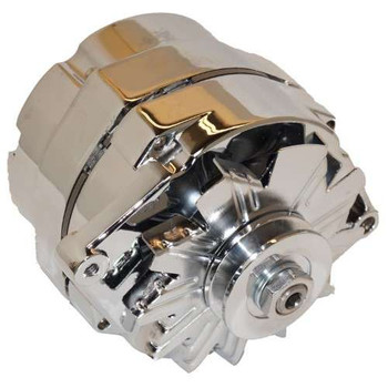 Chrome 105 AMP 1-Wire Alternator with Pulley Used for converting 6 volt to 12 volt