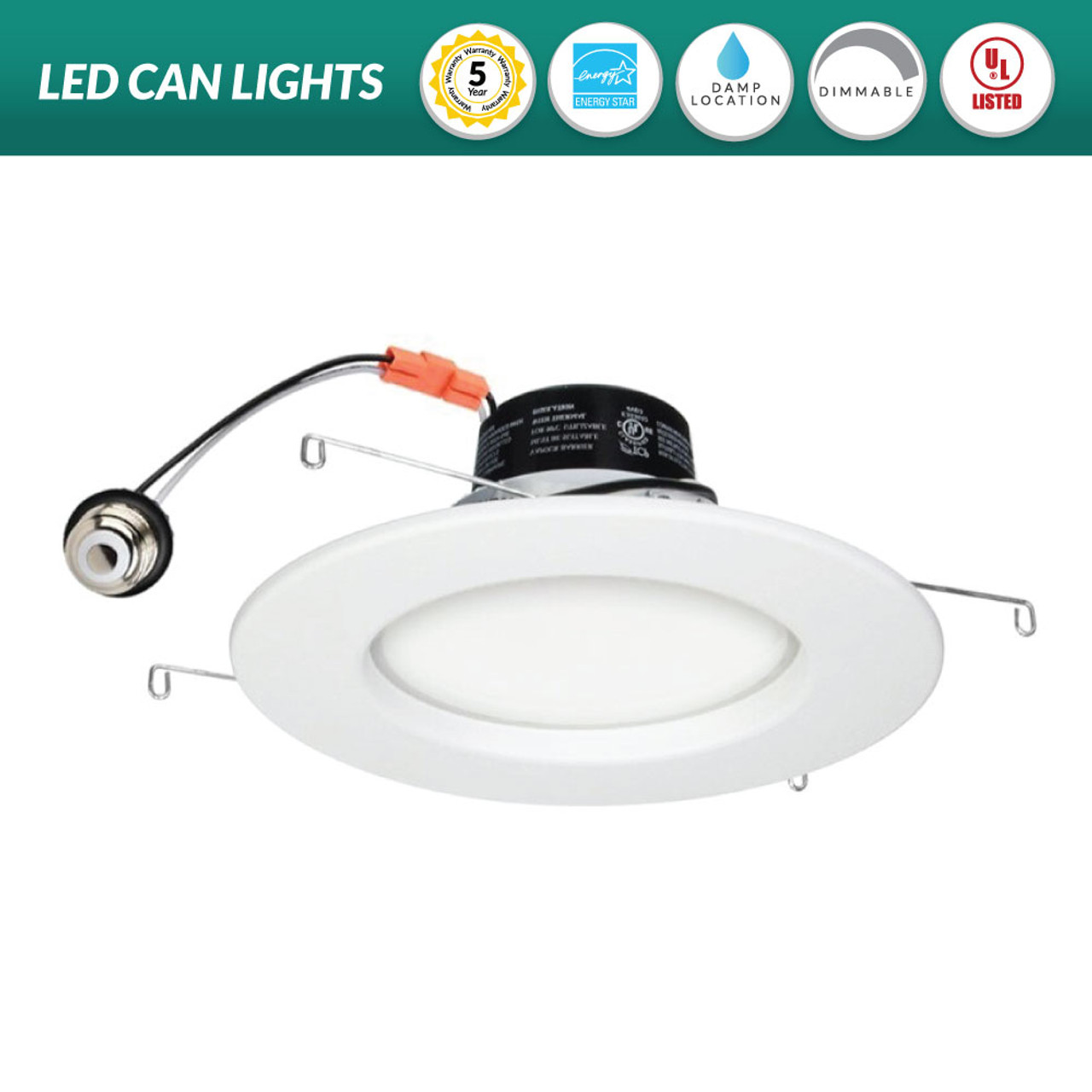 """6/"""" Recessed LED Can Bulb K-Lite Retrofit Warm white Dry Damp Wet DIMMABLE"""