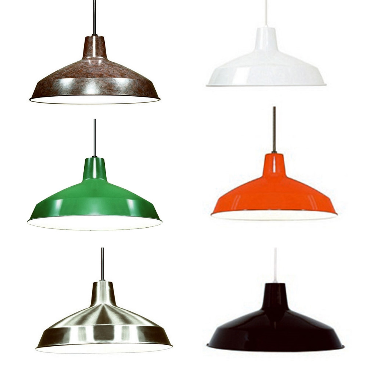Satco 16 Inch Diameter Warehouse Style Pendant Light Fixtures Choose Light Brushed Nickel Old Bronze Or Light Green
