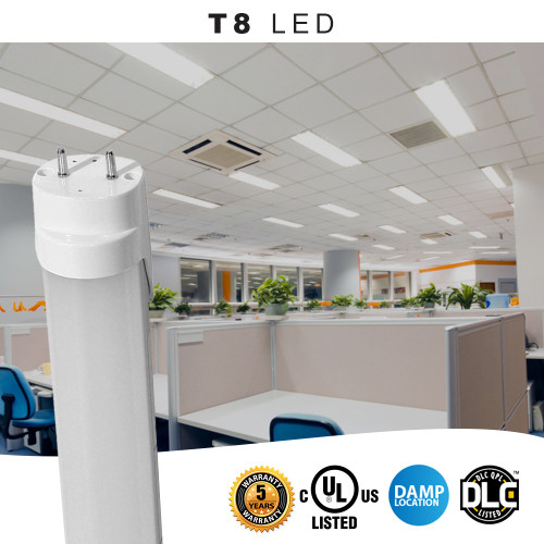 T8 LED Bulbs 5000K Daylight, Ballast Bypass Tubes; 15 Watt - 1800 lumens - One Sided Direct Wire - 4 Ft