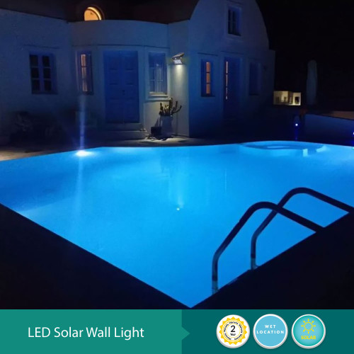 Solar LED Wall Fixture With Front And Back Lighting - Programmable Motion Sensor