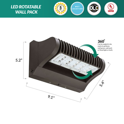 LED Rotatable Wall Pack - 25 Watt Replaces 100-150W MH, 3375 Lumens, 5000K Daylight, Bronze Housing Color