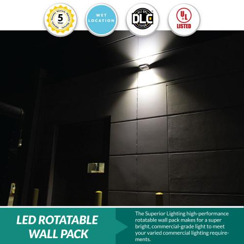 LED Rotatable Wall Pack - 40 Watt = 150-200W MH, 5400 Lumens, 3000K Soft White, Bronze Housing Color