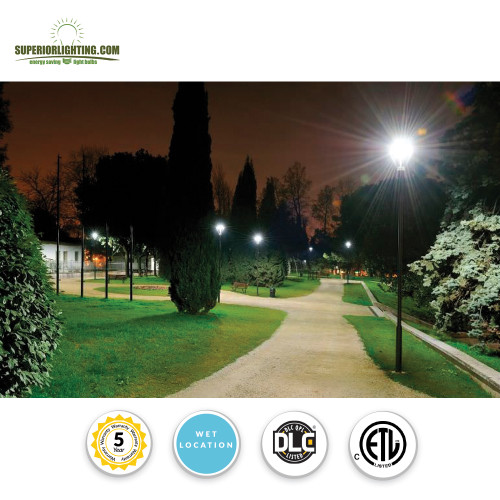 LED Modern Pole Light For Commercial Areas and Parking Lots - High Output 150 Watts - 19,500 Lumens - 5000K Daylight - Fits over 2.5 Inch Tenon Poles (requires adapter below for other sizes)