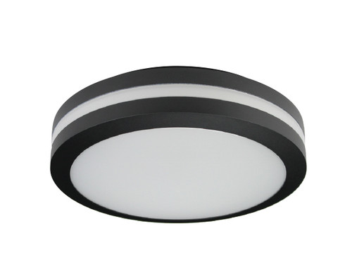 Black Round LED Bulkhead Light - Ceiling or Wall Mount - Outdoor Wet Location UL Listed - 14 Watt - 1350 Lumens - 3000K