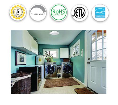 LED Closet Ceiling Light with Motion Sensor - 12W - White Housing - Frost Polycarbonate Lens