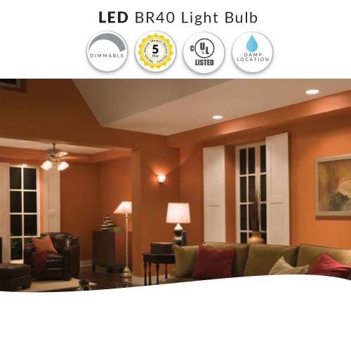 LED BR40 Light Bulb, Dimmable - 12 Watt = 75W Replacement - Soft White 3000K - 120 Volt