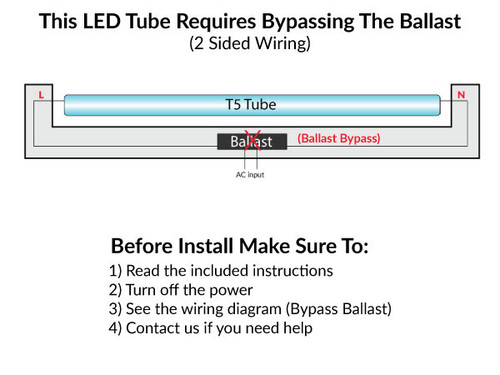 T5 LED Ballast Bypass Replacement For Mini Bi-Pin Linear Fluorescent T5 Preheat Lamps
