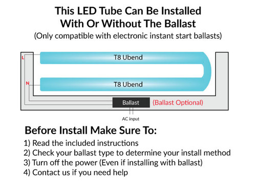 LED T8 Dual Mode U-Bend Tubes -  Ballast Bypass And Ballast Compatible