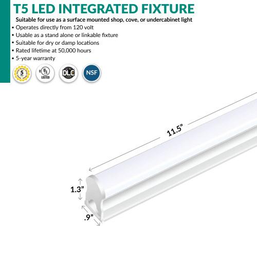 LED Integrated T5 Fixture - 1 Foot - 5 Watt - 575 Lumens - 5000K Daylight
