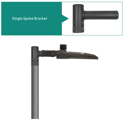 """Pole Top Spoke Bracket for 1 Light Fixture at 90 degrees, 1 Foot Wide, slips on 2-3/8"""" tenon"""