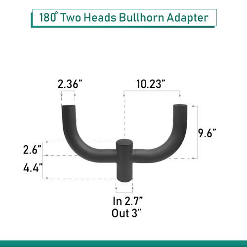 """2 Light Mini Bull horn mounting bracket - slips on 2-3/8"""" round pole - 24 Inches Across"""