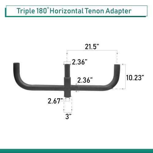 3 Light Bullhorn mounting bracket, 180 Degrees - slips on 2-3/8 In. pole - 42 Inches Across