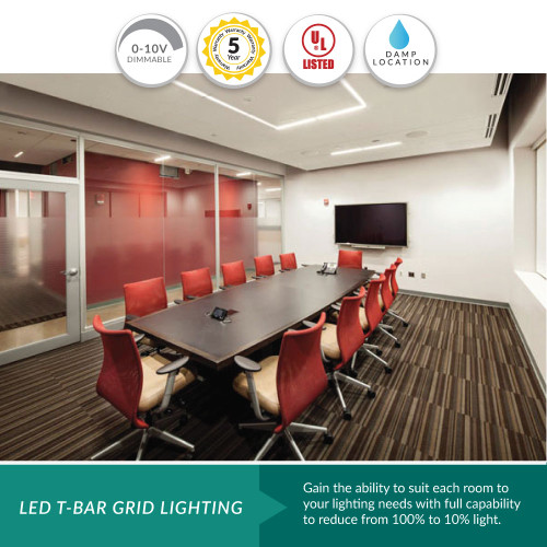 LED Edge Lit Grid Ceiling Tile Perimeter Light -  Choose Your Size and Color For Pricing