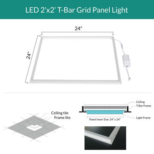 2x2 LED Ceiling Grid Frame Light - Edge Lit -  3000K Soft White