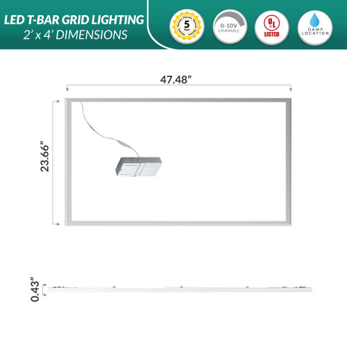 2x4 LED Edge Lit Drop Ceiling Grid Light - 3000K Soft White