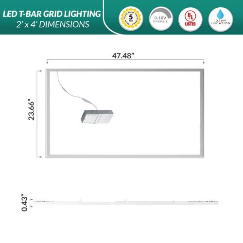 2x4 LED Edge Lit Drop Ceiling Grid Light - 3000K Soft White