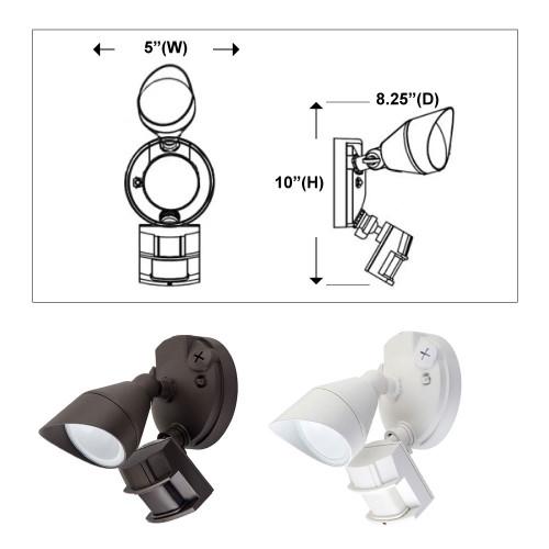 LED Dusk to Dawn Flood Light - One Head with Photocell and Motion Sensor - 12 Watt - 5000K Daylight - White - 1000 Lumens