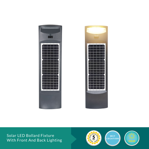 Solar LED Bollard Fixture With Front And Back Lighting - 20 Watt 6000K 2000 Lumens