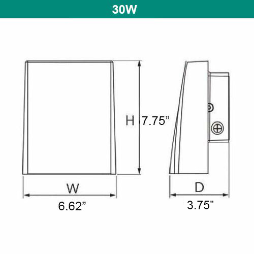 LED Full Cut Off Wall Pack  - Can Be Used as a Flood or Cut Off Wall Pack, 30 Watt, 2700 Lumens, 5000K - NOT ADJUSTABLE